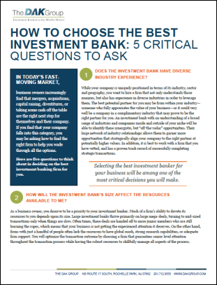 The DAK Group 5 Tips Investment Bank