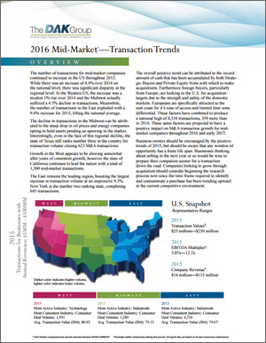 2016 Transaction Trends Report by The DAK Group