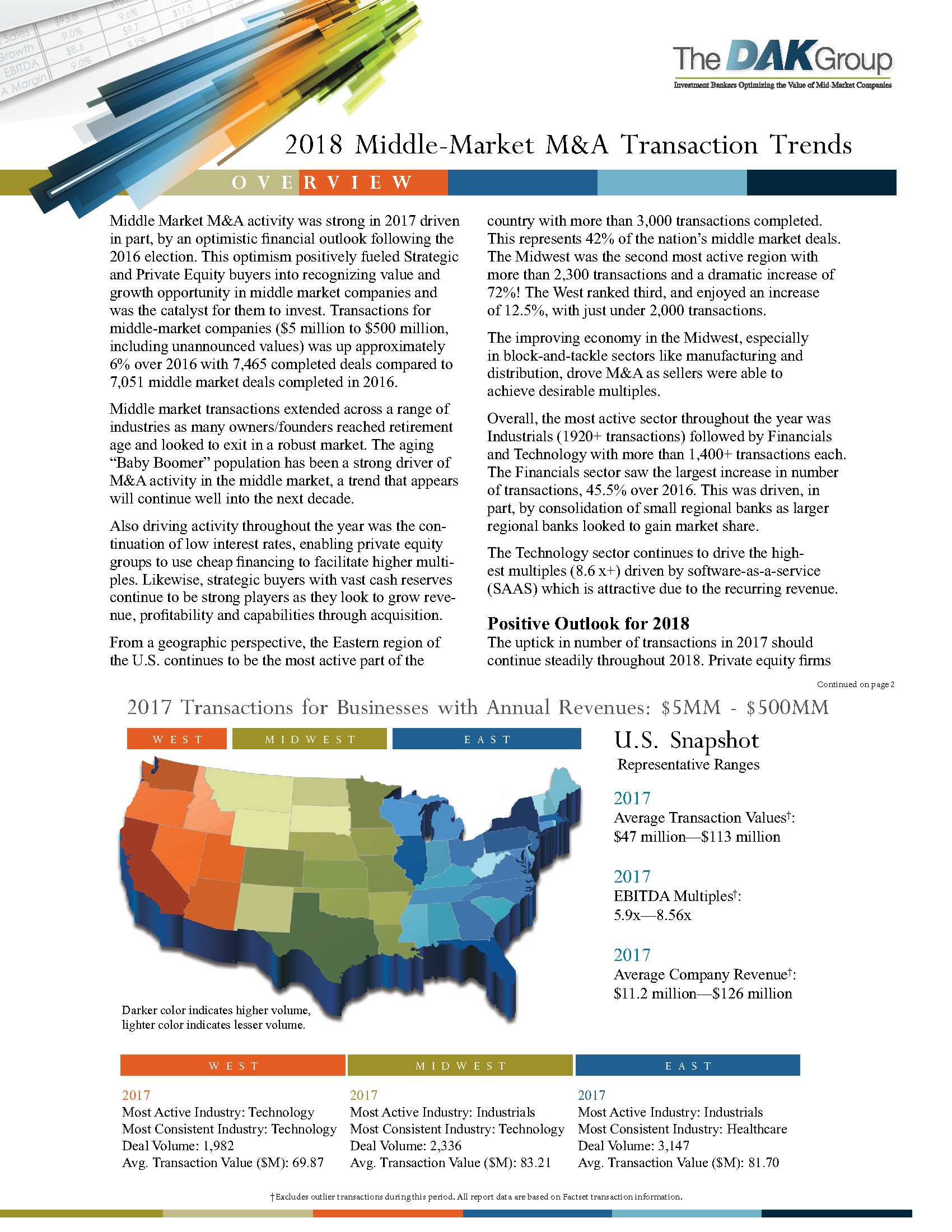 DAK Launches New Report: Middle-Market M&A Transaction Trends 2018